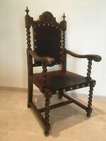 Spanish Revival Antique 19th Century Barley Twist Throne chair