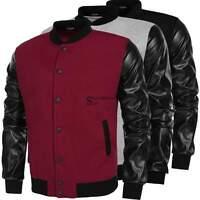HOT Men Coat Varsity Letterman College Baseball Jacket PU Leather Sleeve Outwear