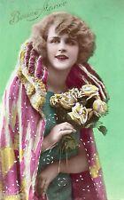BK385 Carte Photo vintage card RPPC Femme woman mode fashion Fantaisie
