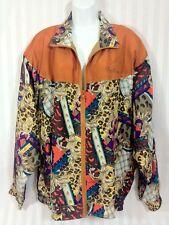 Vintage 80's OLEG CASSINI Silk Size XL Burnt Orange Bomber Jacket Coat