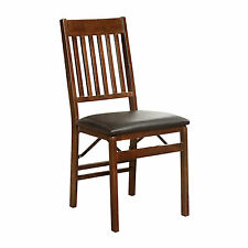Mission Back Wood Folding Chair - Walnut, Folds, Stores, 275 Lbs - NEW FreeShip