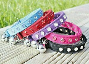 Cat Collar Diamante Felt Velvet Safety Elastic Bell Pink Purple Black Bling Girl