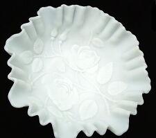 Vintage IMPERIAL GLASS White Satin Doeskin Ruffled Edge Embossed Rose Bowl