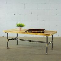 Corvallis Coffee Table Vintage Rustic Rectangular Pipe Frame Reclaimed Wood