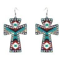 AZTEC SERAPE Native Turquoise Indian Long Southwestern  Rockabilly earrings