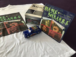 """THE BEATLES """"Long + Winding Road"""" Die-cast TAXI in TIN with T-SHIRT + PLAQUE"""