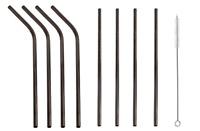 Black Metal Reusable Drinking Straws Stainless Steel Straw Bent Straight Short