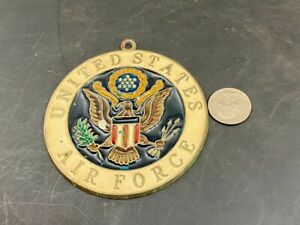 "VINTAGE USAF UNITED STATES AIR FORCE ENAMEL HANGING 3-3/4"" MEDALLION FREE SHIPPN"