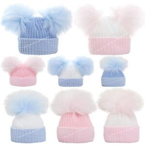 BABY GIRLS BOYS KNITTED POMPOM HATS NEWBORN 0-3 MONTHS BOBBLE PINK BLUE TRIM