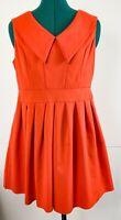 Caroline Morgan Orange Fit And Flare Dress Pockets Smart Business Size 12