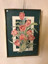"Watercolor""Cut Tulips"" By Emma Lou Martin 16""X23"".C12pix4size&details.MAKE OFFER"