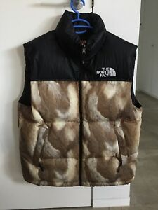 Supreme X The North Face Down Vest M Black Red Jacket Nupste Medium Fur Brown