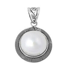Round Mabe Pearl Pendant Sterling Silver 925 Created Stone Jewelry Gift 22 mm