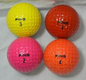 LOT OF 4 PING BI-COLORED GOLF BALLS PINK RED ORANGE YELLOW
