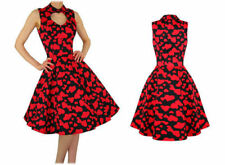 BLACK 50'S VINTAGE ROCKABILLY GOTH WEDDING PROM DRESS RED VALENTINE HEARTS  8