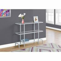 Monarch Specialties 3 Tiered Tempered Glass Top Console Table, Silver