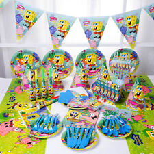 89Pcs SpongeBob SquarePant Kids Birthday Party Plate Decoration Banner Mask Bags
