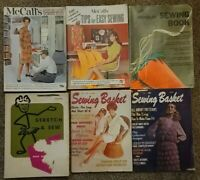 Lot 6 vintage sewing magazines. SEWING BASKET,  VOGUE, MCCALL'S, STRETCH & SEW