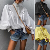 Womens Retro Ruffle Puff Sleeve Shirts Top Victorian OL Party T Shirt Plus Size