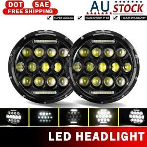 Pair 7Inch Round LED Headlights Hi/Lo Beam DRL For Kenworth T2000 1998-2010