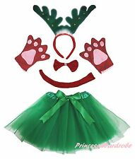 Xmas Party Adult Women Green Ring Reindeer Headband Paw Tail Bow Skirt Costume