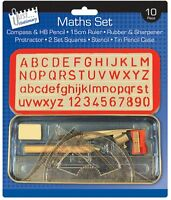 Maths Set & Stationary Carry Case With Compass & Accessories -All in One