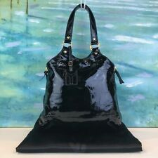 YVES SAINT LAURENT YSL Black Patent Leather Metropolis Tribute Tote Bag Sale!