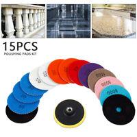 15PCS Diamond Polishing Marble Pads Wet Dry Set Kit For Granite Concrete 4 Inch