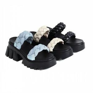 Women's Trendy Summer Peep Toe Slippers Creeper Heel Non-slip Sandals Comfort L