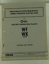Vintage ONAN WF WK Series Electric Generator Operators Manual & Parts Catalog