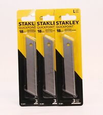 3 Stanley Quickpoint Snap-Off Blades 3 Blades 18mm Carded 9 Blades Total - New