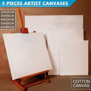 5x Artist Blank Stretched Canvas Canvases Art Large White Range Oil Acrylic Wood