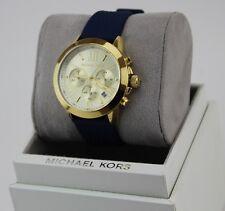 NEW AUTHENTIC MICHAEL KORS BRADSHAW GOLD BLUE NAVY SILICONE WOMEN'S MK2556 WATCH