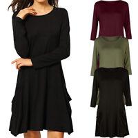 Women's Casual Pockets Plain Flowy Simple Swing T-Shirt Loose Tunic Dresses