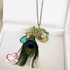 Traditional Thailand Peacock Pendat with Peacock Feathers Necklace