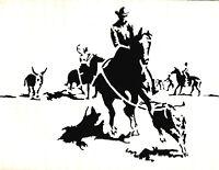 STENCILS CRAFTS TEMPLATES SCRAPBOOKING WESTERN COWBOY STENCIL - 2 A4 MYLAR