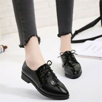 Women's Casual Pointed Toe Solid Oxfords Lace-up Chunky Low Heels Work Shoes New