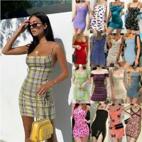 Womens Holiday Mini Dress Ladies Summer Bodycon Backless Slip Dress Party Beach