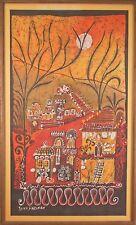 """The Temple- Jerusalem"" by Ruth Freiman Batik Art Framed 39""x24"""