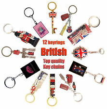 BRITISH KEYRINGS, 12 TOP LONDON ENGLAND SOUVENIRS UNION JACK KEYCHAINS - 12 KEYC