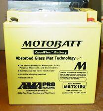 Motobatt 12V AGM Motorcycle Battery Replaces YTX16BS YTX16BS1 YTX20A-BS MBTX16U