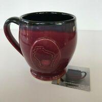 Wisconsin Mug Jenny Blasen Art Pottery Ceramic Coffee Cup Red Black Madison WI