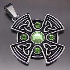 "Celtic Green Sun Cross Pewter Pendant Free 20"" Necklace PP#295G"
