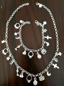 Ladies Set 925 Sterling Silver Charm Necklace and Bracelet with 13 Charms