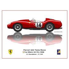 Print on paper Ferrari 250 Testa Rossa #14 Gendebien / Hill Winners 24h LM 1958