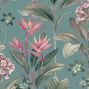 Oliana Soft Teal Botanical Floral Wallpaper by Belgravia 8486