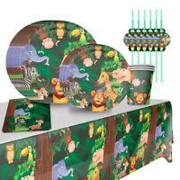 Jungle Animal Paper Tableware Set Kids Birthday Party Decor Baby Shower Supplies