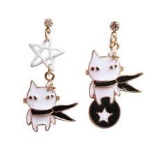 Creative Star Black Cat Pendant Drop Earrings For Girls Enamel Earrings Jewelry