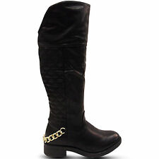 NEW WOMENS RIDING BIKER KNEE HIGH LOW BLOCK HEEL QUILTED BOOTS SHOES SIZE WINTER