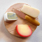 Miniature Round Wooden Cheese Platter with Knife, for Dollhouse, 1/12 scale